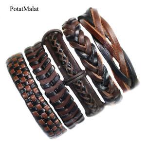 5pcs-Handmade-Genuine-Men-Women-Leather-Bracelet-Braided-Bangle-Wristband-F87
