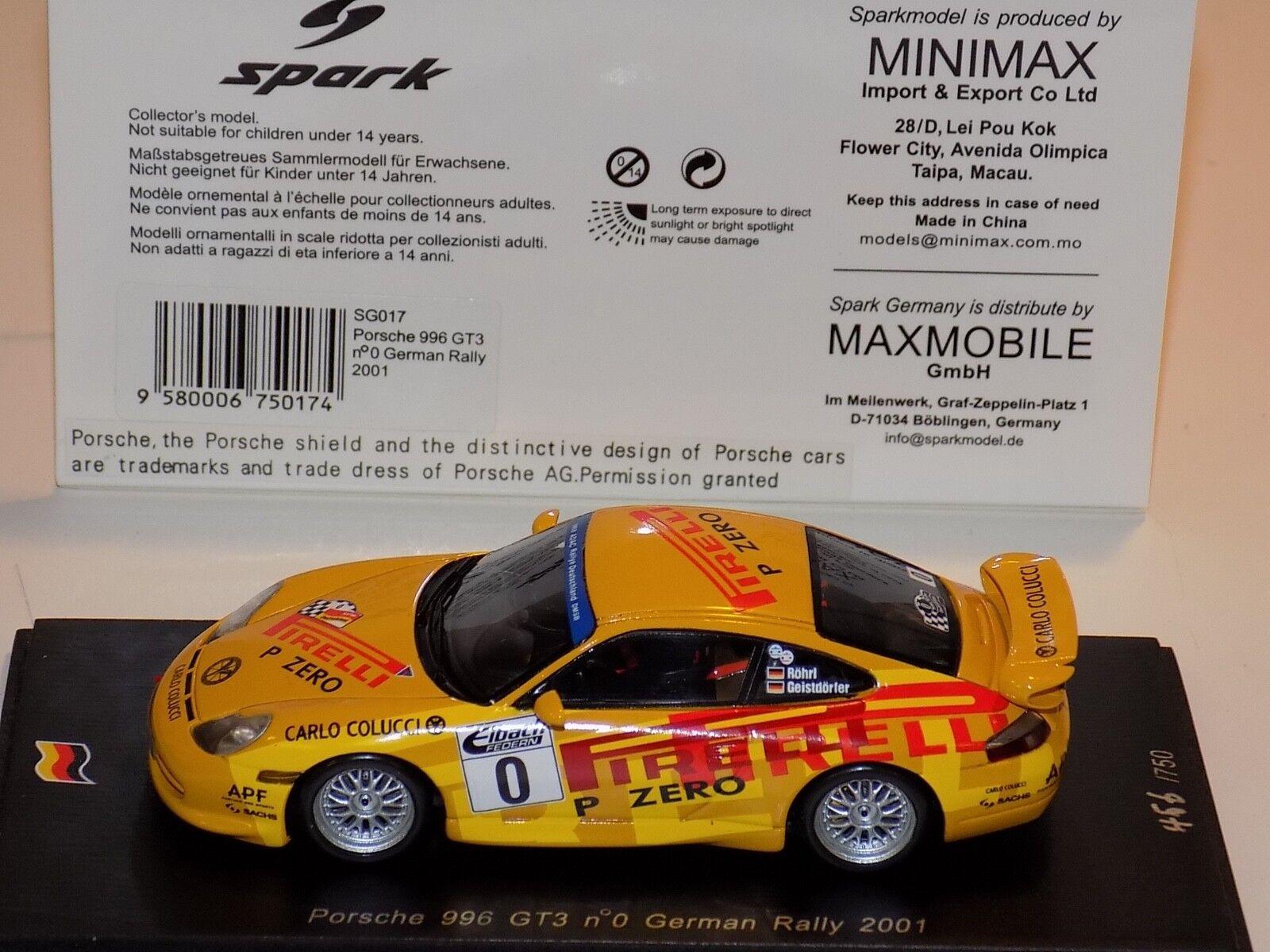 1 43 Spark Porsche 911 911 911  996  GT3 coche 0 rally alemán desde 2011 SG017 3bf041