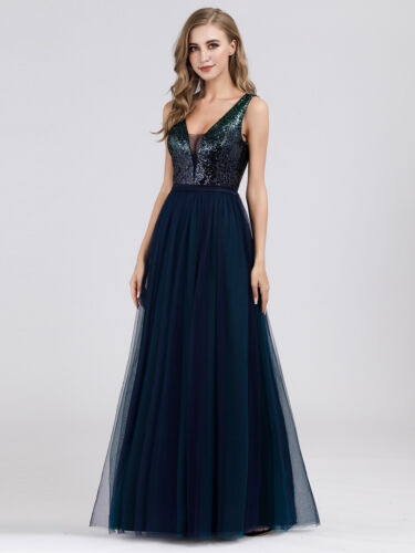 Ever-Pretty Double V-neck Bridesmaid Dresses Sequins Mesh Long Evening Dress