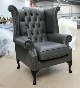 Outstanding Details About Georgian Chesterfield Queen Anne High Back Wing Chair Bonded Grey Leather Machost Co Dining Chair Design Ideas Machostcouk
