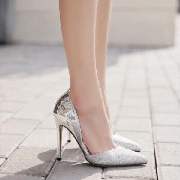 decolte scarpe donna silver strass elegante stiletto 11 spillo simil pelle 8273