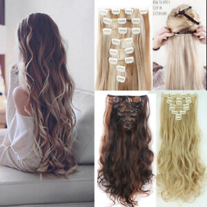 Full head real thick clip in hair extensions as human long wavy image is loading full head real thick clip in hair extensions pmusecretfo Image collections