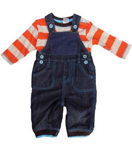 Baby-Jungen-Gefuettert-Latzhose-und-Lang-Arm-Gestreift-Top-Outfit-Zwei-Stueck-Satz