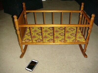 """VINTAGE Large 24/"""" walnut finish doll crib new in box by Mapes Industries"""