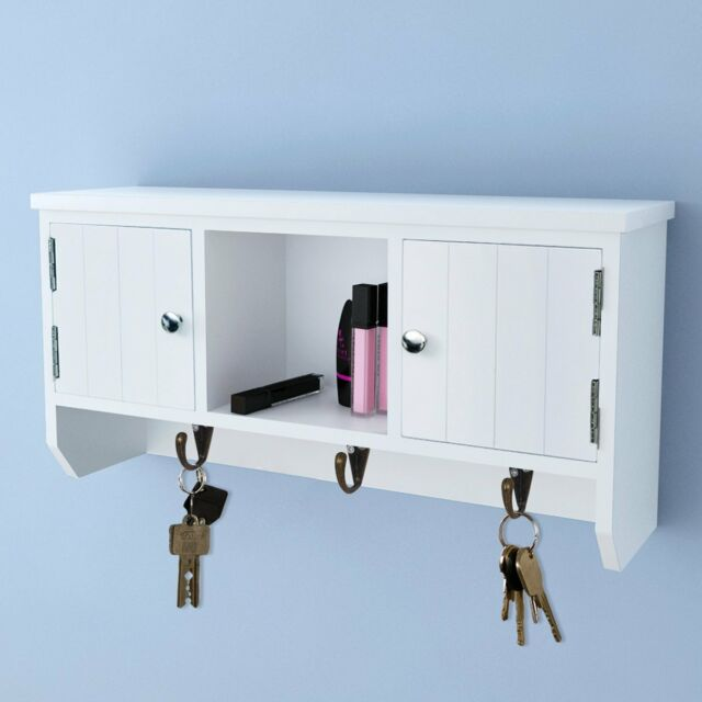 Wall Mounted Cabinet with Doors Hooks Jewelry Wallet Storage Key Hanger Display