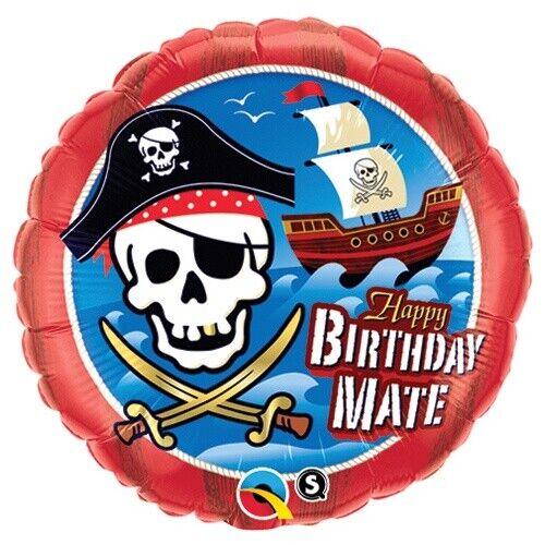 """FOIL BALLOON 18""""(45CM) HAPPY BIRTHDAY MATE PIRATE SHIP QUALATEX FOIL BALLOON"""
