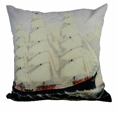 One Duck Two Ship Artwork velveteen cushion cover 45 x 45