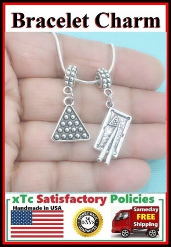 Pool Table and Triangle Charms Fit Beaded Bracelet POOL PLAYER BILLIARD