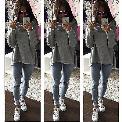 Womens Long Sleeve Pullover Hoodie Jacket Loose Sweater Coat Jumper Loose Tops