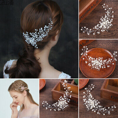 NEW Stunning Diamante /& Faux Pearl Flower Hair Clip UK Seller