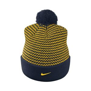 5b58302f002 Details about NIKE Michigan Wolverines Women s Cuffed Knit Hat Beanie Cap  with Pom - Adult