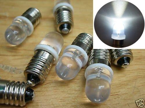 S244-10 pièces DEL 10 mm blanc clair 12-16 v pour douille e10