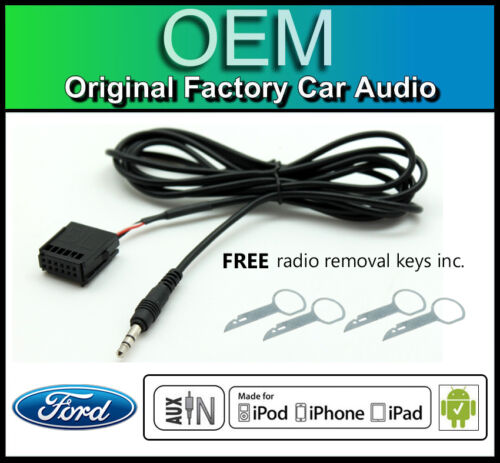 Ford 6000 CD car stereo AUX in cable iPod iPhone Android Ford Fiesta AUX lead