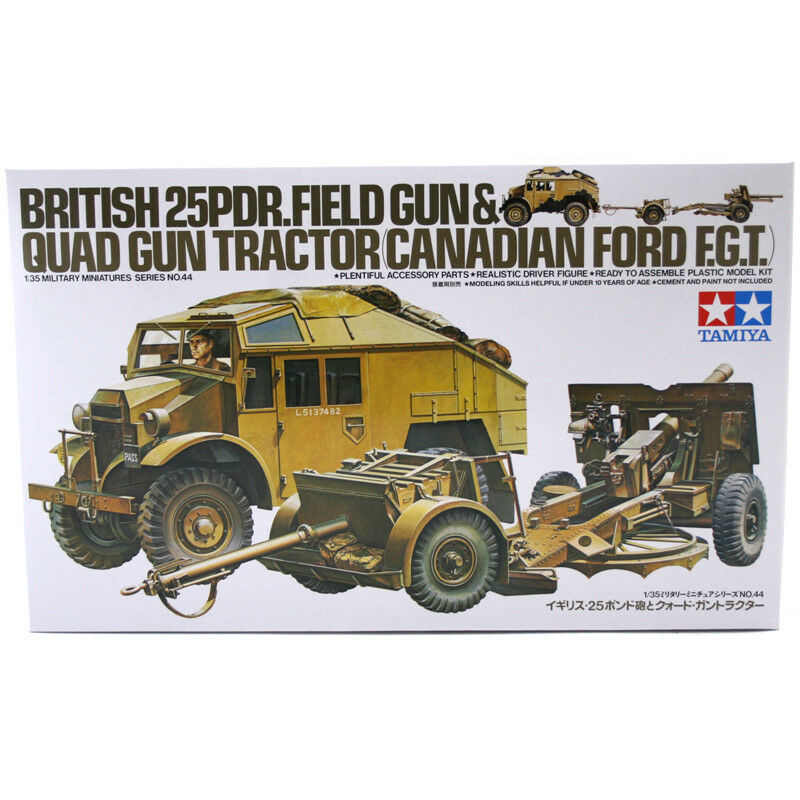 Tamiya British 25 PDR Field Gun & Quad Quad Quad Tractor Model Set (Scale 1 35) 35044 NEW 377568