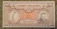 Jason Island Banknote. £20. Unc. Dated 1979.