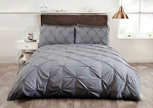 Image Is Loading Pintuck Bedding Duvet Quilt Cover Set Single Double