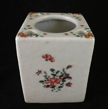 "Rare Chinese Export Porcelain Inkwell w/Bird Quill Holders, c. 1780's. 2"" sq."