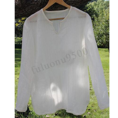 Summer Beach Mens Casual Solid V-Neck Long Sleeve Linen Shirt Cool Top T-shirts