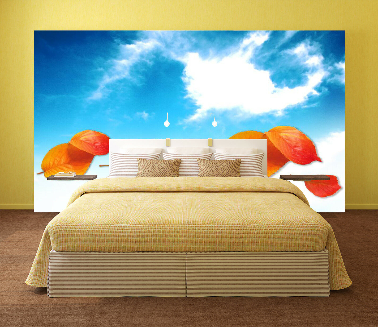 3D Red Leaf Couds 75 Wall Paper Murals Wall Print Wall Wallpaper Mural AU Summer