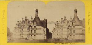 Château Da Chambord Francia Foto Stereo BK Parigi Vintage Albumina Ca 1870
