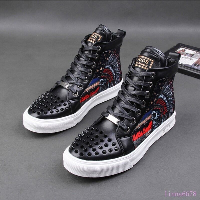 hommes Rivet Sport Sneaker Bottes Lace up Boy printing High Top leather chaussures New
