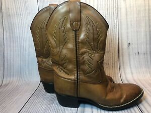 42649a77fd0 Old West Cowboy Boots Child Brown Leather Size 10 Style 1129 Round ...