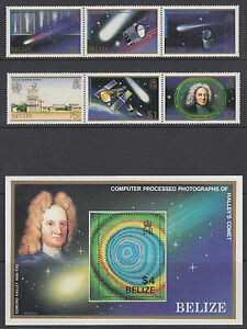 Belize-Sc-812-814-MNH-1986-Halley-039-s-Comet-cplt-incl-Souvenir-Sheet-VF