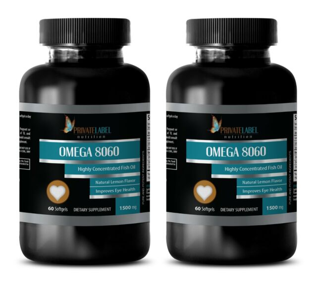 Pure Omega-3 Fish Oil 1500mg Pharmaceutical Grade EPA DHA 120 Softgels 2  Bottles