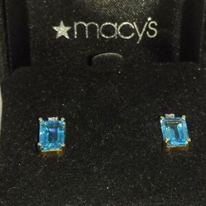 Baguette-Blue-Topaz-4tcw-and-Diamond-4-tcw-Pair-of-Earrings-14K-Yellow-Gold
