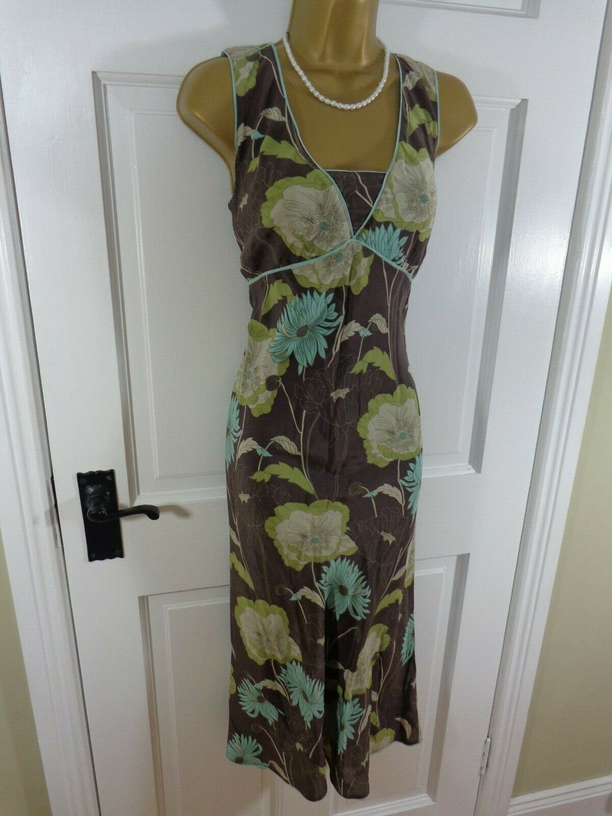 02e1bc4a3a9 Monsoon Brown   bluee 100% SILK Floral Lined Dress
