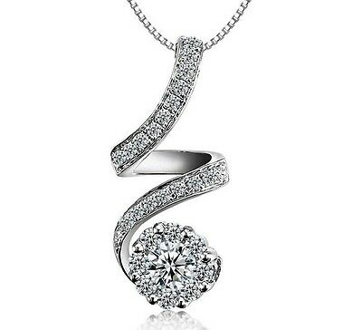 SPC 925 Sterling Silver Necklace//Planet Pendant//Silver 925 Chain//Cubic Zirconia//Silver