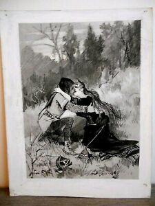 100% De Qualité Dessin Original Amoureux Nature José Roy Scène De Rue Moyen-age Fin Xixe 1900