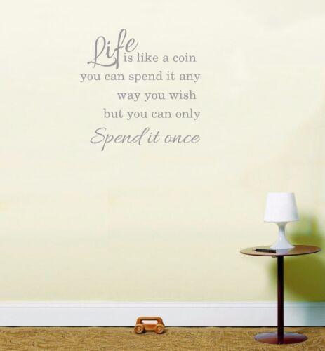 La vie est comme une pièce de la vie Citation Autocollant Vinyle Autocollant d/'inspiration Art mur