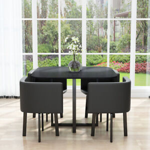 Chairs Set Furniture Kitchen Home Cafe, Small Black Dining Table And 4 Chairs