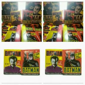 Vintage-1989-Batman-Movie-Trading-Card-4-Wax-Pack-Lot-BATMAN-JOKER-Unopened