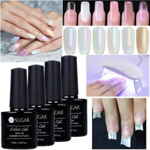 Poly-UV-Gel-de-Construction-Faux-Ongle-Extension-Fibre-de-Verre-UV-Lampe-DIY-Kit