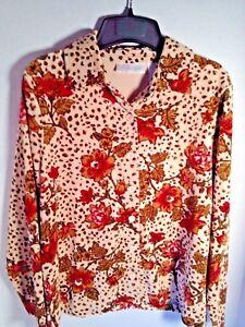 Blouse-Velour-Big-Shirt-Dressbarn-Petite-Medium-Brown-Tan-Red-Floral-Button-Soft