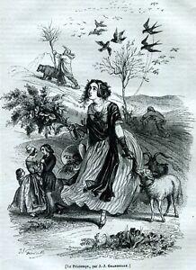 Quattro-Stagioni-di-Grandville-Quatre-Saisons-4-Stampe-Passepartout-1842-1844