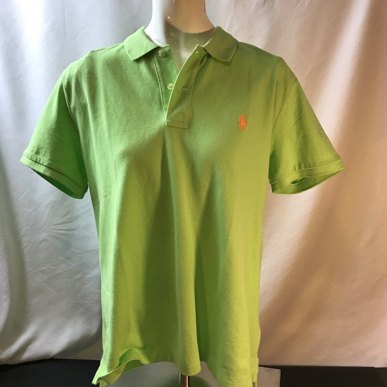 New Polo Ralph Lauren Classic Fit Cotton Mesh Shirt sz Sml Florida Green orange