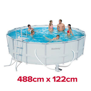 Heavy Duty Bestway Steel Pro Frame Above Ground Swimming Pool 16ft 56266 488cm Ebay