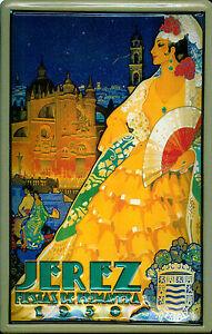 Jerez-1930-Letrero-de-Metal-3D-en-Relieve-Arqueado-Tin-Sign-20-X-30CM