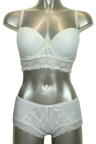 Lace Padded Bralet and Hipster Set Cream B ICE 6410-4 C Cup