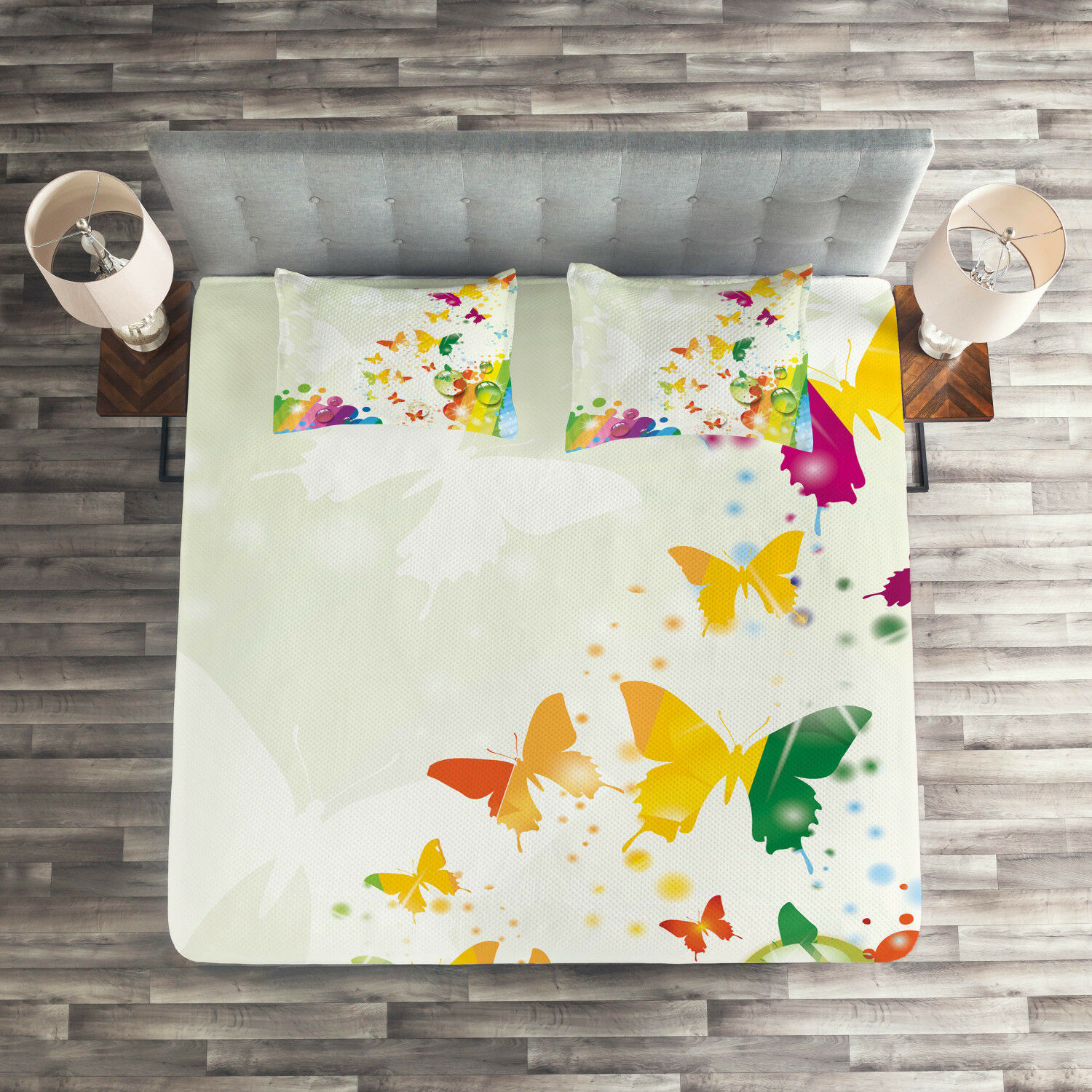 Nature Quilted Coverlet & Pillow Shams Set, Butterfly Festival Art Print