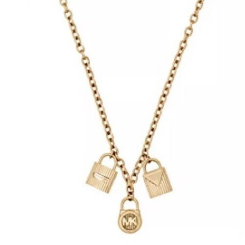 pendant s michael heart kors gold monogram authentic mop p necklace