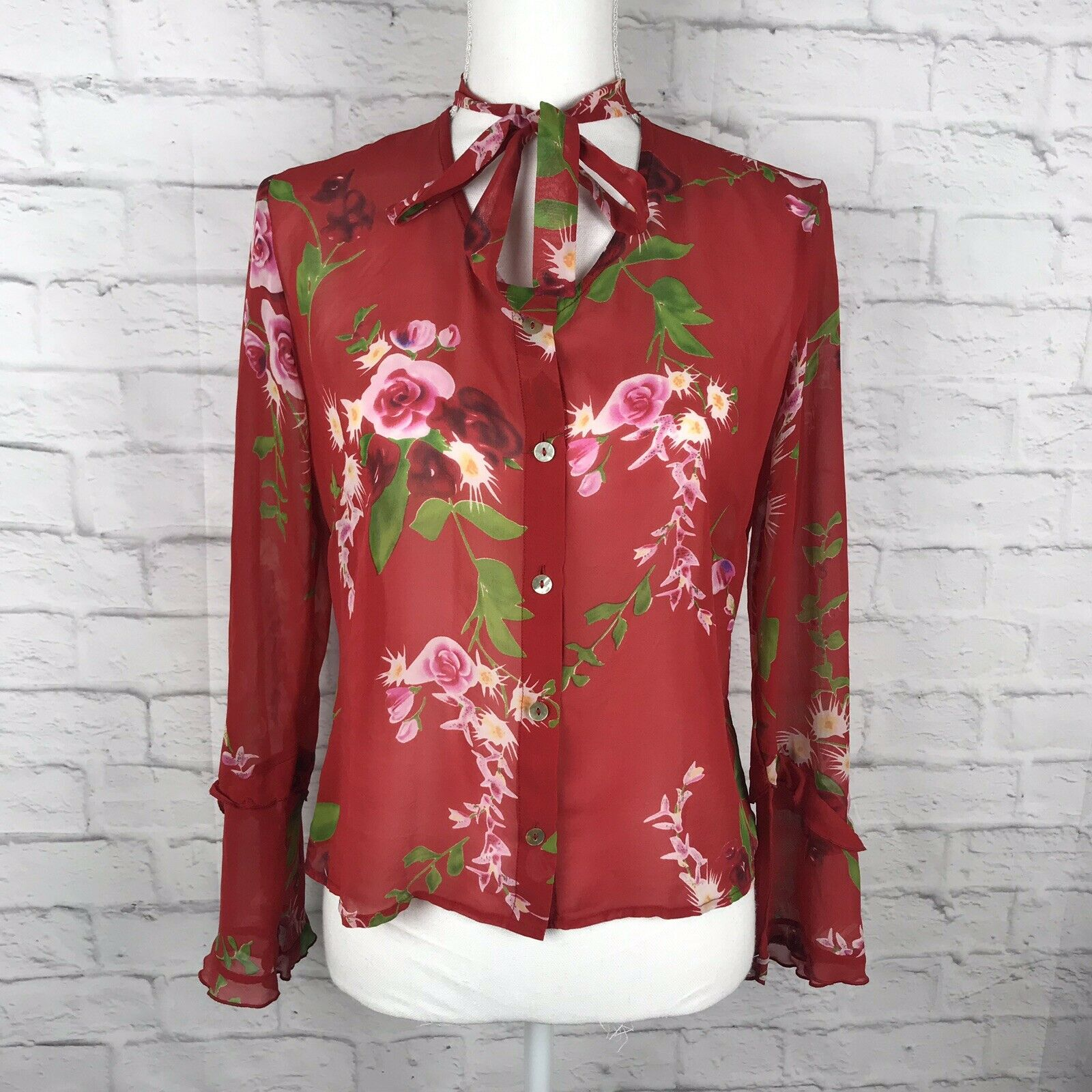 Johnny Was damen rot Floral Sz S 100% Silk Button Down Long Sleeve Sheer Blouse