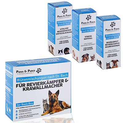 Zuversichtlich Paws & Patch Bachblüten Globuli 3er Box RevierkÄmpfer Krawallmacher Katzen Hunde