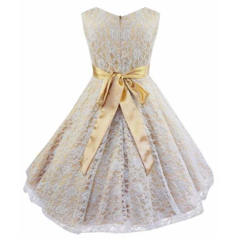 Flower Girl Lace Wedding Party Birthday Prom Teenage Bridesmaid Sleeveless Dress