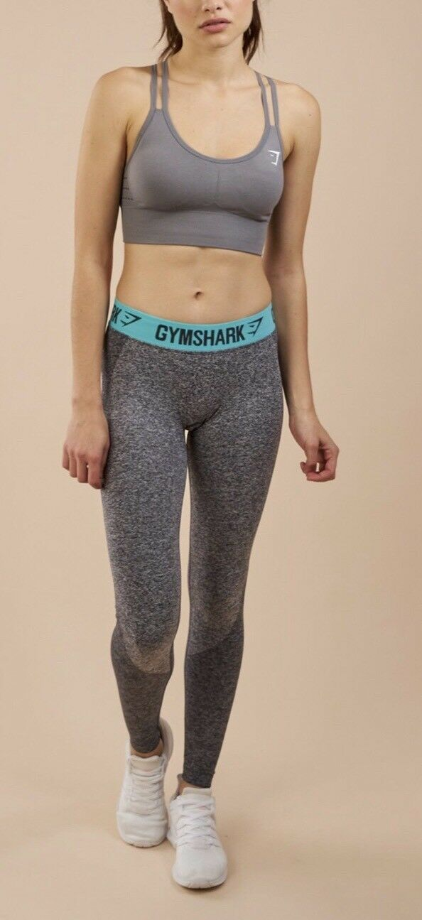 Gymshark Womens Flex Leggings Charcoal Marl pale Terquoise Size XS