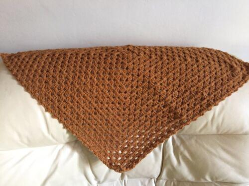 Robin Aran Wool Handmade Crochet  Baby Blanket//Throw//Lapghan//Shawl New Brown