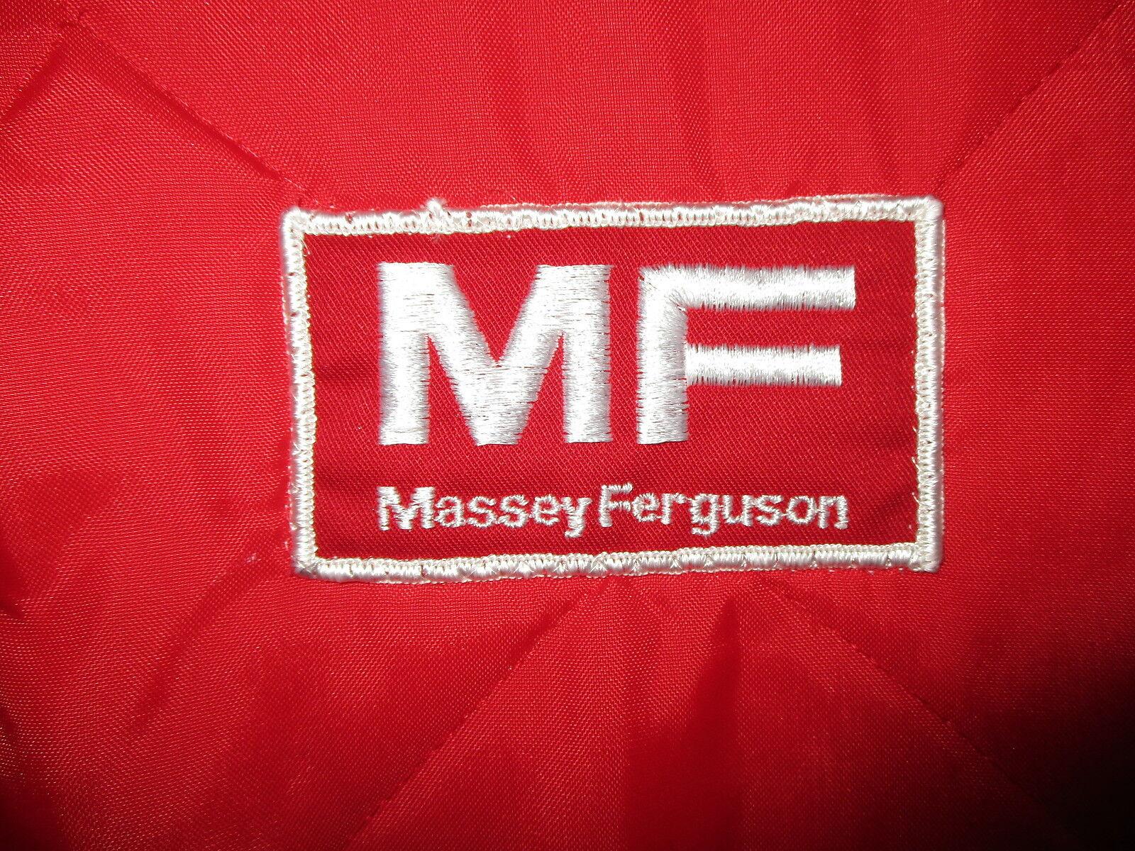 vtg 80s MASSEY FERGUSON NYLON VEST Tractor Farming Equipment Logo Patch Red MED